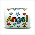 10 Pieces DIY Reversible Ceramic Handcrafted Angel Stars and Hearts 18mm X 14mm Tube Large Hole Beads