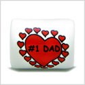 10 Pieces DIY Reversible Ceramic Handcrafted Number One Dad Hearts 18mm X 14mm Tube Large Hole Beads
