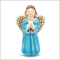 10 Pieces DIY 3D Ceramic Handcrafted Guardian Praying Sky Blue Angel 31mm X 17mm 2mm Hole Painted Beads