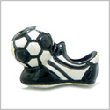 10 Pieces DIY 3D Ceramic Handcrafted Soccer Ball with Cleats Boots 22mm X 12mm 2.5mm Hole Painted Beads