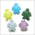 10 Pieces DIY 3D Ceramic Handcrafted Lucky Charms Sea Turtle 19mm X 15mm 1.5mm Hole Painted Mix Beads