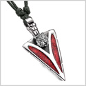 Arrowhead Grizzly Bear Head Brave Powers Protection Amulet Sparkling Royal Red Pendant Adjustable Necklace