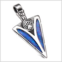 Arrowhead Grizzly Bear Paw Brave Power Protection Amulet Sparkling Royal Blue Pendant
