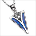 Arrowhead Grizzly Bear Paw Brave Power Protection Amulet Sparkling Royal Blue Pendant 18 Inch Necklace