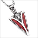 Arrowhead Grizzly Bear Paw Brave Power Protection Amulet Sparkling Royal Red Pendant 18 Inch Necklace