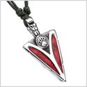 Arrowhead Grizzly Bear Paw Brave Power Protection Amulet Sparkling Royal Red Pendant Adjustable Necklace
