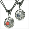 Amulet Lucky Horse Shoe Unicorn Love Couple or Best Friends Pewter Pendants Necklaces