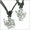 Amulets True Love and You Me Inspirational Love Couple Energy Pewter Pendants Necklaces