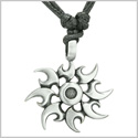 Amulet Celtic Sun Magic Fire Flames Energy Pewter Pendant on Adjustable Cord Necklace