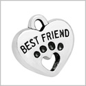 20 Pieces Best Friends Wolf Paws Magic Powers Lucky Charms Findings for Jewelry Pendant Necklace 15x15mm