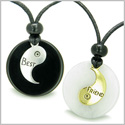 Double Lucky Best Friends Medallions Amulets White Jade and Black Onyx Magic Stones Friendship Pendants Adjustable Necklaces