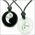 Double Lucky Best Friends Medallions Amulets in White Jade and Black Onyx Gemstones Friendship Pendants on Adjustable Necklaces