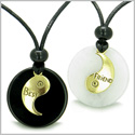 Double Lucky Best Friends Medallions Amulets White Jade and Black Onyx Positive Stones Friendship Pendants Adjustable Necklaces