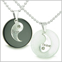 Double Lucky Best Friends Medallions Amulets White Jade and Black Onyx Gemstones Friendship Pendants Stainless Steel Necklaces
