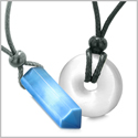 Yin Yang Powers His Hers Love Couples Crystal Point Lucky Donut Sky Blue White Cats Eye Amulet Necklaces