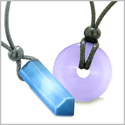 Yin Yang Powers His Hers Love Couples Crystal Point Lucky Donut Sky Blue Purple Cats Eye Amulet Necklaces