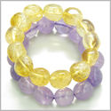 Amulet Double Lucky Set Amethyst and Citrine Tumbled Crystals Money and Protection Powers Lucky Gemstone Bracelets