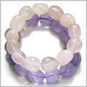 Amulet Double Lucky Set Amethyst and Rose Quartz Tumbled Crystals Love and Protection Powers Lucky Gemstone Bracelets