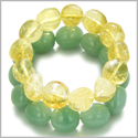 Amulet Double Lucky Set Green Aventurine and Citrine Tumbled Crystals Money and Business Attractor Powers Lucky Gemstone Bracele