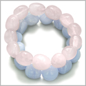 Amulet Double Lucky Set Rose Quartz and Blue Lace Agate Tumbled Crystals Good Luck, Love Powers Lucky Gemstone Bracelets