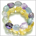 Amulet Double Lucky Set Fluorite and Citrine Tumbled Crystals Good Luck, Aura Protection Powers Lucky Gemstone Bracelets