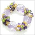 Amulet Faceted Amethyst Crystals with Peridot, Citrine Amethyst Chips Good Luck Protection Powers Gemstone Bracelet