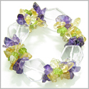 Amulet Faceted Rock Quartz Crystals with Peridot, Citrine Amethyst Chips Evil Eye Protection Powers Gemstone Bracelet