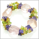 Amulet Faceted Rose Quartz Crystals with Peridot, Citrine Amethyst Chips Love Good Luck Powers Gemstone Bracelet