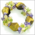 Amulet Faceted Tiger Eye Crystals with Peridot, Citrine Amethyst Chips Evil Eye Protection Powers Gemstone Bracelet