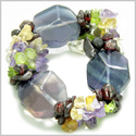 Amulet Large Faceted Fluorite Crystals with Garnet, Peridot, Citrine Amethyst Chips Aura Protection Powers Gemstone Bracelet
