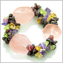 Amulet Large Faceted Rose Quartz Crystals with Garnet, Peridot, Citrine Amethyst Chips Love Good Luck Powers Gemstone Bracelet