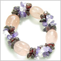 Amulet Tumbled Rose Quartz Crystals with Garnet, Crystal Quartz, Amethyst Chips Good Luck and Love Powers Gemstone Bracelet