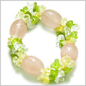 Amulet Tumbled Rose Quartz Crystals with Peridot, Crystal Quartz, Citrine Chips Good Luck and Love Powers Gemstone Bracelet