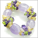 Amulet Tumbled Amethyst Crystals with Peridot, Citrine Amethyst Chips Good Luck Protection Powers Gemstone Bracelet