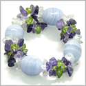 Amulet Tumbled Blue Lace Crystals with Peridot, Crystal Quartz, Amethyst Chips Good Luck Protection Powers Gemstone Bracelet