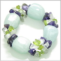 Amulet Healing Tumbled Aquamarine Crystal with Peridot, Crystal Quartz and Amethyst Chips Natural Powers Bracelet