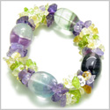 Amulet Tumbled Fluorite Crystals with Peridot, Citrine Amethyst Chips Aura Protection Powers Gemstone Bracelet