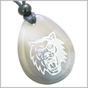 Brave and Protection Lucky Wolf Good Luck Amulet Natural Agate Wish Totem Gem Stone Necklace Pendant