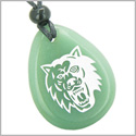 Brave and Protection Lucky Wolf Good Luck Amulet Green Aventurine Wish Totem Gem Stone Necklace Pendant