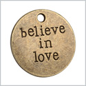 20 Pieces Believe in Love Inspirational Medallion Lucky Charms Findings for Jewelry Pendant Necklace 20mm