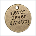 20 Pieces Never Give Up Inspirational Medallion Lucky Charms Findings for Jewelry Pendant Necklace 20mm