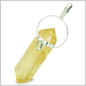Brazilian Lucky Citrine Crystal Point with Faceted Aquamarine Cabochon Amulet Gemstone Silver Electroplated Pendant