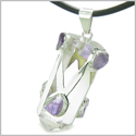 "Brazilian Amulet Double Lucky Crystal Point Rock Quartz and Tumbled Amethyst Positive Powers Pendant 18"" Leather Cord Necklace"