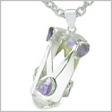 "Brazilian Amulet Double Lucky Crystal Point Rock Quartz and Tumbled Amethyst Positive Powers Pendant 18"" Steel Cord Necklace"