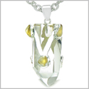 Brazilian Amulet Double Lucky Crystal Point Rock Quartz and Tumbled Citrine Positive Powers Pendant 18� Steel Cord Necklace