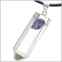 Brazilian Double Lucky Amulet Crystal Point Rock Quartz Amethyst Healing Gemstones Pendant on 18� Leather Necklace