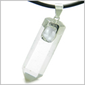 Brazilian Double Lucky Amulet Crystal Point Rock Quartz Aquamarine Healing Gemstones Pendant on 18� Leather Necklace
