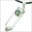 "Brazilian Double Lucky Amulet Crystal Point Rock Quartz Green Aventurine Healing Gemstones Pendant on 18"" Leather Necklace"