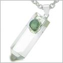 "Astrological Gemini Amulet Double Crystal Point Green Aventurine and Rock Quartz Gems Zodiac Pendant on 18"" Steel Necklace"