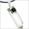 "Brazilian Double Lucky Amulet Crystal Point Rock Quartz Black Onyx Healing Gemstones Pendant on 18"" Leather Necklace"